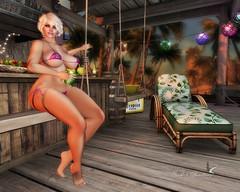 HALLOWEEN BEACH PARTY (Rachel Swallows Inworld Elenamicheals Core) Tags: beach belleza bikini dayofthedead fashion halloween maitreya party pool secondlife slink sugarskull swimwear