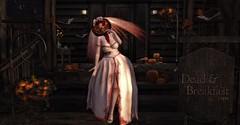 Hallows Eve Bride (Miru in SL) Tags: second life sl halloween autumn season pumpkins bloody bride dead breakfast paper moon fika sass dark