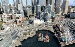 Seattle waterfront aerial: Pike to Spring (WSDOT) Tags: aerials seattle gp construction wsdot alaskan way viaduct replacement waterfront demolition 2019