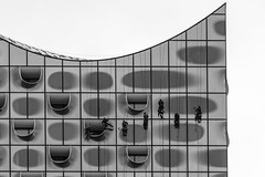 Everything is about music at the Philharmony / do-mi-mi-sol-ti-sol-la (Özgür Gürgey) Tags: 2019 24120mm bw d750 elbphilharmonie hafencity hamburg nikon solfège architecture geometry highkey lines people windows working