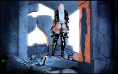 Warrior of Faith (bootie view) (Kyrri <3) Tags: secondlife second life sl fantasy scifi sci fi cyberpunk faith religious nun lewd sexy slutty glow lighting white hair thong