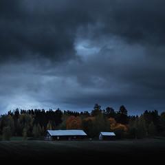 Blue hour | Sininen tunti (Olli Tasso) Tags: lempäälä nurmi kylä lato pelto field farm maatila maalaismaisema countryside finland barn dramatic sky cloudy overcast pilvinen maisema landscape scenery rural maaseutu syksy fall autumn bluehour sininentunti night yö ilta evening