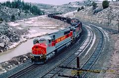 (SEE & HEAR)---UTAH 5003, Kyune, UT. 4-21-2001 (jackdk) Tags: train railroad railway locomotive mk mk5000 mk5000c utah utahrailway coal coaltrain coaldrag soldiersummit denverandriograndewestern drgw riogrande kyune kyuneutah fallenflag caterpillar cat catpowered