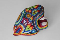 huichol jaguar head (ikarusmedia) Tags: beads art craft patterns jaguar head peyote mouth teeth macro zoom closeup mexico city huichol