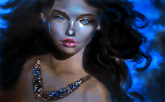 All that glitters (g017 - g017.deviantart.com) Tags: painting portrait girl woman digital digitalart art blue digitalpainting necklace hair longhair darkhair