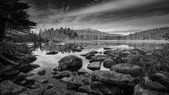 A view of Mount Katahdin, Maine (jtr27) Tags: dscf9475xl jtr27 mount mountain katahdin pond lake reflection maine newengland blackandwhite bw monochrome landscape manualfocus samyang rokinon 12mm f2 f20 ncs cs
