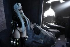 Warrior of Faith (Kyrri <3) Tags: secondlife second life sl fantasy scifi sci fi cyberpunk faith religious nun lewd sexy slutty glow lighting white hair thong