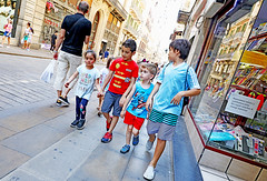 The Barcelona Fire Brigade (kirstiecat) Tags: elborn spain espana kids children play costume street canon energy catalunya catlonia catluna fun pretend pretendplay world global international