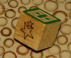 DICE ONLY (garydavidworthington) Tags: dice liverpool woods wood bamboo shapes stars green numbers math creative smileonsaturday diceonly die one alone roll angle photography object