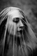 Audrey Ghost (Julian_Fletcher) Tags: ghost scary spooky apparition mystic plasticsheet plastic girl french audrey fujifilm fujinon fujiholics beauty blackandwhite portrait portraitphotography head shot headshot canaryisland canaries lanzarote