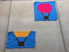 The two plain hot hair balloons crochet panels (crochetbug13) Tags: crochet crocheted crocheting crochetpanel crochetyarnbomb crochethotairballoon
