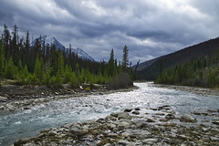 Whirlpool River Looking South (Bernie Emmons) Tags: jaspernationalpark canada whirlpoolriver mountains river trees clouds reflection rocks