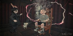 Mommy Said Play Nice 😈 (Kaelin's SL Adventures) Tags: secondlifephotography slkids secondlifechildhood secondlifechild secondlife toodleedoo electricchair thing addamsfamily wednesday pugsley kids silly halloween fun warbug lemomo