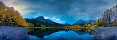 Wedge Pond 2017  Panorama (John Andersen (JPAndersen images)) Tags: alberta clouds fall kananaskis morning october panorama poplars reflections sky wedgepond
