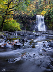 Forced Perspective (Matt Straite Photography) Tags: water river stream waterfall oregon silver falls park nature landscape fall color yellow tripod blend canon outdoors ngc