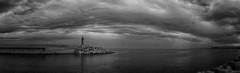 Sokcho Bay Panorama (Sokcho, South Korea. Gustavo Thomas © 2019) (Gustavo Thomas) Tags: sokcho bay coast faro lighthouse sky sea mar pano panorama monochrome bnw blackandwhite seascape travel southkorea korean corea asia nature sunlight light cloudy nikon