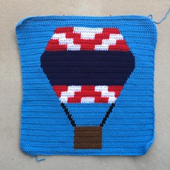 The finished red, white, and blue balloon panel (crochetbug13) Tags: crochet crocheted crocheting crochetyarnbomb crochethotairballoon crochetpanel