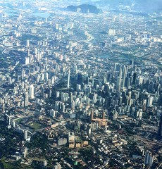 Aerial View of Kuala Lumpur (stardex) Tags: kualalumpur city twintowers kltower aerial skyscraper building architecture