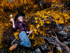 Day 8: Basic Witch (Amazing Aperture Photography) Tags: halloween happyhalloween halloween2019 fun scary spooky creepy horror celebrate festive october fall autumn decorate holiday fear terrifying gore 31daysofhalloween amazingaperturephotography creative sonya7rii witch leaves leaf tree foliage fallfoliage yellow orange girl woman fly broom starbucks basic basicwitch hat costume trendy