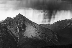 Retreat (TroyMasonPhotography) Tags: bushwacking climbing clouds easypass funnelcloud hail hill lightning moody mountain mountaineering mountaineers northcascades northcascadesnationalpark peak rain ridge storm thunder weather marblemount washington hike climb outdoors nature landscape blackandwhite