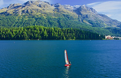Lovely day for sailing (somabiswas) Tags: sailing stmoritz lake lac mountains landscape waterscape switzerland travel trees scenery autumn