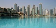 Dubai - Fountain Lake (cnmark) Tags: dubai uae united arabic emirates building gebäude hochhaus skyscraper wolkenkratzer gratteciel grattacielo rascacielo arranhacéu architecture architektur tower fountainlake dubaimall reflections spiegelungen blue sky blauer himmel ©allrightsreserved