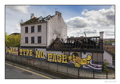 All Type No Face (Seven_Wishes) Tags: newcastleupontyne photoborder outdoor jo cb jg ejw canoneos5dmarkiv canonef24105mmf4lisii streetphotography building firedamaged ruin derelict abandoned rafters graffiti boardedup overgrown windows brokenwindows city