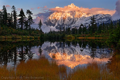A Picture is Worth a Thousand Words (pdxsafariguy) Tags: shuksan picturelake sunset lake nature landscape water reflection mountain scenic tranquil tree pond peak alpine forest cloud autumn clouds washington usa mountshuksan snow mtbakersnoqualmienationalforest tomschwabel