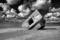emergency landing (other perspective) (the ripped bystander) Tags: blackwhite seashore beach bunker blockhaus channel sky