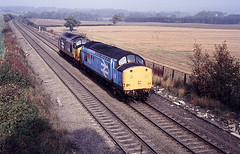 Plawsworth 37501 and 37502 up l e Oct 87 J9328 (DavidWF2009) Tags: plawsworth ecml cuntydurham class37