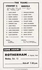 Stockport County vs Mansfield Town - 1969 - Back Cover Page (The Sky Strikers) Tags: stockport county mansfield town football league division three edgeley park 9d official programme go