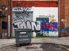 VEOLIA (Explore - 09 October, 2019 - #192) (Peter.Bartlett) Tags: dumpster unitedkingdom city doorway drainpipe bin peterbartlett trash urban sign uk m43 microfourthirds shutter graffiti backstreets wall dustbin olympuspenf colour liverpool england