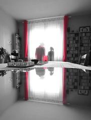 Rouge éthéré... (Tonton Gilles) Tags: noir et blanc partiel rouge rideaux fantômes spectres ectoplasmes fenêtre reflet miroir étagères à disques cd plafond mise en scène regard
