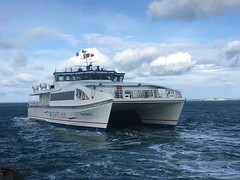 Wightlink FastCat leaving Ryde Pier Head (IoW_Sparky) Tags: wightlink wight isleofwight ferry solent sea water sky clouds iphone gb uk angleterre bateau traversier catamaran mer eau ciel nuages cote england wightryderii