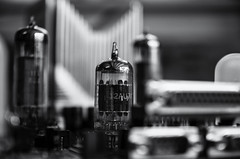 Future town (Burnt Umber) Tags: tube vaccuum mother board circuit electronics heatsink computer deconstructed niksilver black white bw tamron1750mmf28 blanco noir schwarz weis weiss