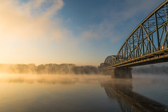 Misty Morning (Slav.Burn) Tags: morning mist fog bridge river vistula toruń water sky blue pentaxart elitegalleryaoi bestcapturesaoi aoi