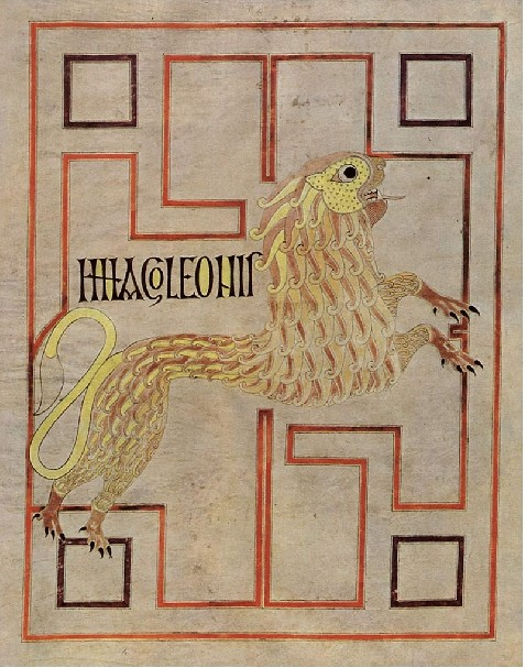 74 Лев - символ евангелиста.Марка - из Золотого кодекса Эхтернаха
