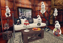 Welcome to this humble abode (Rose Sternberg) Tags: deco decor home garden interior second life november 2019bee designs into night bench salem event tree cute ghosts gacha key rare junk food crime scene cake tomato soup grilled cheese platter for sanarae kraftwork antibes table chandelier sways rhea autumn hangout dark bazar memories living room carpet