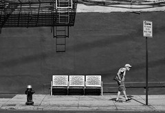 No Engine Idling (Kenneth Laurence Neal) Tags: newyorkcity street streetphotography people wall bench blackandwhite monochrome monotone noir blackdiamond urban nikon nikond7100 walking sidewalk signs fireescape