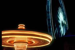 Carousel and flyer (Thanathip Moolvong) Tags: nikon fe 50mm f14 fujichrome velvia 100 reversal film carousel night flyer