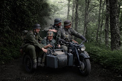 engineer unit (dim.pagiantzas | photography) Tags: people men male soldiers germans unit war warriors worldwar2 representation motorcycle nature forest mission uniform vermacht army trees scene road path