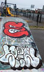 Graffiti in Amsterdam (wojofoto) Tags: amsterdam nederland netherland holland javaeiland legalwall graffiti streetart wojofoto wolfgangjosten spew esek throw throwup throwups