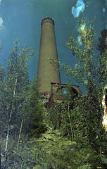 Old Greenwood Smelter (Crusty Da Klown) Tags: kootenays greenwood bc britishcolumbia canada smelter copper old history historical smokestack summer film kodak color expired minolta hill trees sky bye