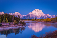 Oxbow Bend at Blue Hour (Wycpl) Tags: oxbowbend grandtetonnationalpark water reflection mountains snow jcpphotography wyoming