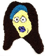 Zana (H o l l y.) Tags: rughooking rug fine art tapestry loop hole face character caricature funny silly weird eyes drawing acrylic yarn