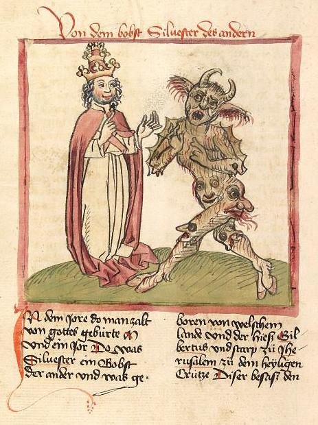 77 Герберт Аврилакский (Папа Сильвестр II)  и дьявол Миниатюра рукописи XV в.