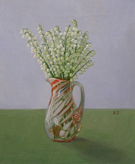 Ландыши. Lily of the valley. (Svetlana Kalcheva) Tags: lilyofthevalley flowers painting oilpainting originalart stilllife spring vase ландыши цветы весна натюрморт ваза