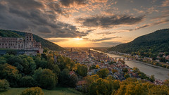 Germany - sunset view over Heidelberg (Toon E) Tags: 2019 germany heidelberg city church sunset outdoors panorama castle river bridge orange sky clouds sony a7rm2 zeiss sonyfe1635mmf4