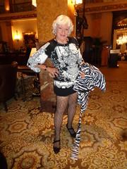 I Seem To Be Dragging (Laurette Victoria) Tags: dress jacket fishnets woman laurette silver pumps milwaukee hotel lobby pfisterhotel