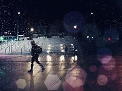 Night (Eggii) Tags: iphone7 photography city lodz colors drops people silhouette bokeh light street rain